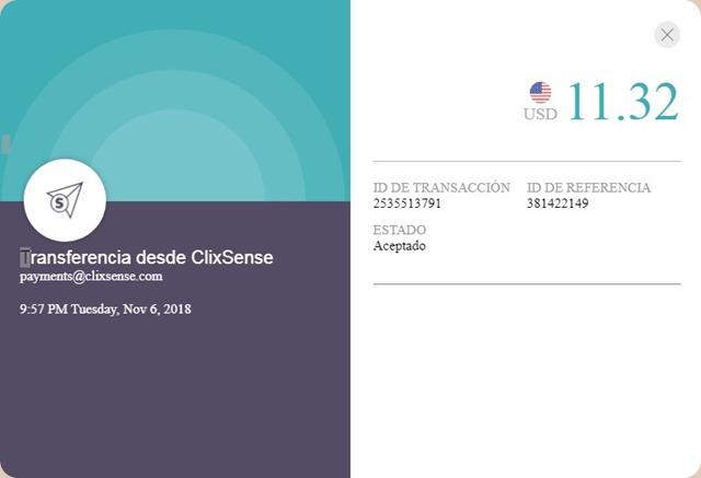 1er Pago de ClixSense después de los cambios operados en la plataforma. Clixsense-pago