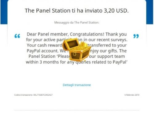 Comprobantes de pago de The Panel Station una página de encuestas fiable que paga regularmente.