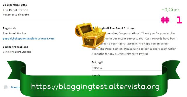 Cómo ganar dinero a través de The Panel Station, guía completa, estrategia y trucos. The-panel-station-pagamento-ricevuto