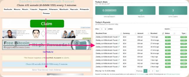 Zandey-Bitcoin-Cash-collage-reclamos-y-pagos-en-FaucetHub