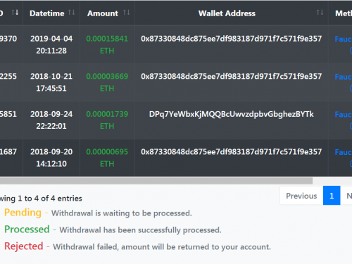 Comprobantes de Pago de Ethereum Faucet página gratuita con un mínimo de retiro muy bajo.